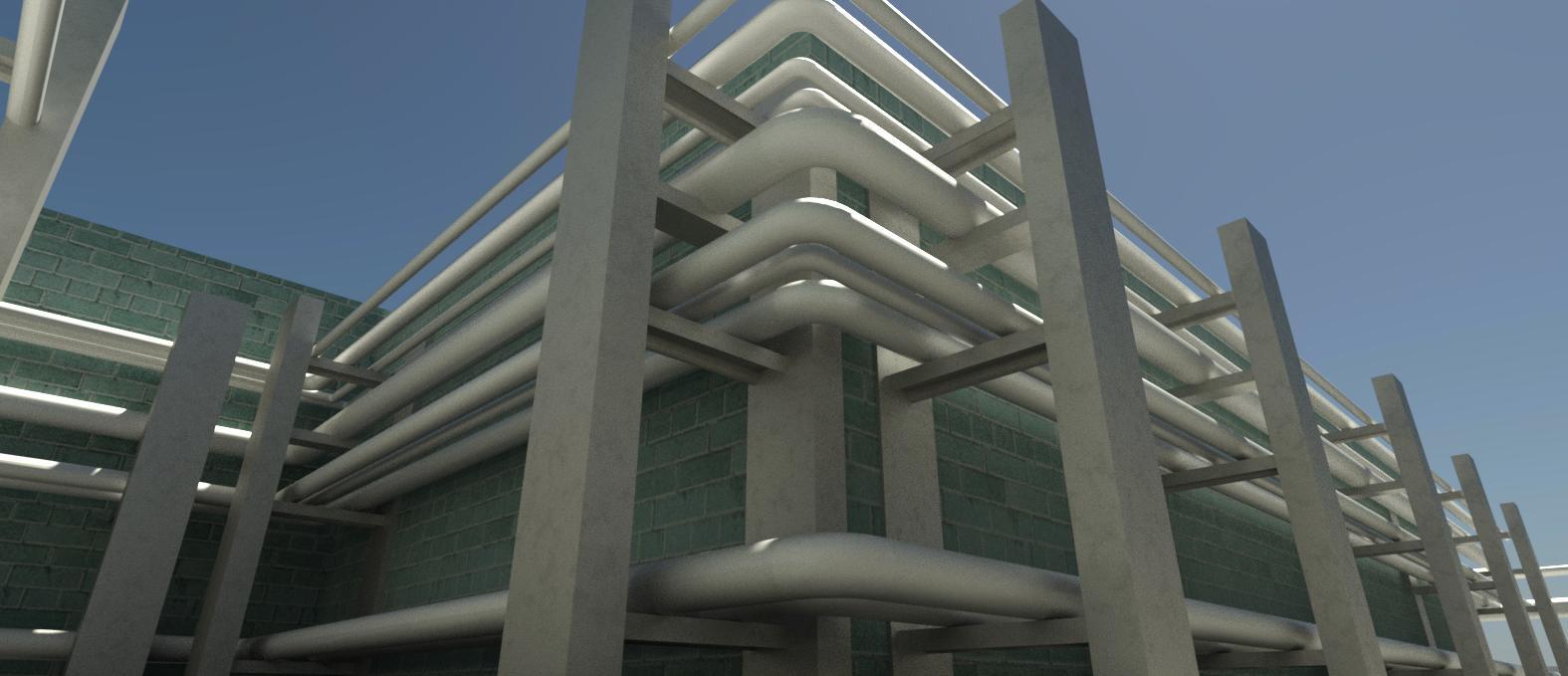 مدل- پایپینگ- موتورخانه- ساختمان -گمرک