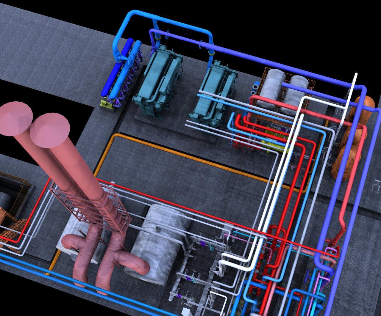 سه بعدی-مدلسازی-تجهیزات و تاسیسات-موتورخانه